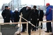 торжественнуя церемония закладки камня в строительство универсального спортивного комплекса в Смоленске