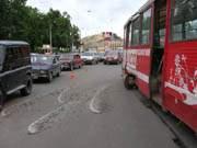 Трамвай, сошедший с рельсов