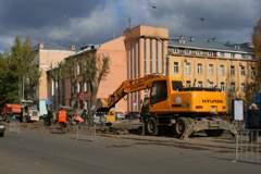 Снятие трамвайных рельсов в Смоленске